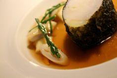 London -  The Greenhouse restaurant, 2 Michelin stars Monkfish Nori / Cockles / razor clams /  Dashi / Gnocchi More info: http://teatimeinwonderland.co.uk/lang/en/2014/02/26/london-the-greenhouse-restaurant-2-michelin-stars/