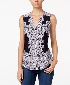 INC International Concepts Printed Zip-Pocket Top, Only at Macy's