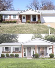 Brick ranch Home Exterior makeover DIY Cedar Window Planters - Shades of Blue Interiors Architecture Renovation, Architecture 3d, Home Exterior Makeover, Exterior Remodel, Bungalows, Exterior Paint, Exterior Design, Diy Exterior, Exterior Shutters