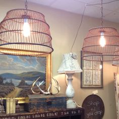 Antique mussel basket lights available at A Beautiful Mess