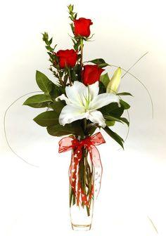 Valentine's Budvase San Diego, Red Roses San Diego, Casa Blanca Lily San Diego