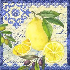 Lemons and Olives-single by Elena Vladykina Vintage Tin Signs, Vintage Labels, Lemon Art, Mosaic Projects, Foto Art, Decoupage Paper, Fruit Art, China Painting, Kitchen Wall Art