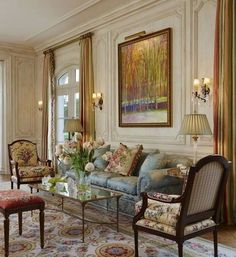Comfy French Country Living Room Decor Ideas - New Design French Living Rooms, French Country Living Room, Elegant Living Room, Formal Living Rooms, French Country Decorating, French Room Decor, Country French, Country Kitchen, Country Style