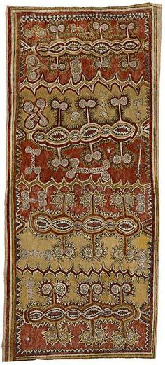 Aspesa Gadai, Odunaige (Climbing vine with thorns and tendrils) 2006. Jiapa village, Oro Province, Papua New Guinea. Natural pigments nioge(barkcloth). 176.0 x 76.0 cm. National Gallery of Victoria, Melbourne. Purchased NGV Foundation, 2008 (2008.73). © The artist, courtesy Ömie Nemiss Incorporated