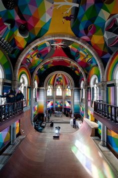 A 100yr old church in Spain transformed into a skate park & covered in murals by Okuda San Miguel