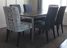 Great tip for saving money on dining chairs by simply dyeing the Henriksdal white fabric to your color of choice! Perfect!