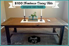 DIY Farmhouse dining table from TheDomesticHeart.com