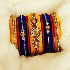 ManthRa Carnival - silkthread bangles Silk Thread Jhumkas, Silk Thread Bangles Design, Silk Thread Necklace, Silk Bangles, Beaded Necklace Patterns, Bridal Bangles, Thread Jewellery, Jewelry Patterns, Designer Bangles