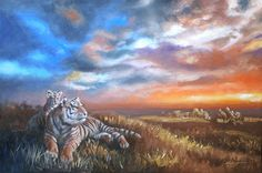 Two Tigers wildlife animal Sunset 24x36 61 x 91 cm by rustyart
