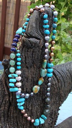 Beadwork Necklace of turquoise and pearls by modbohocreations, $47.00