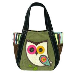 Owl Carryall Zip Tote in Olive by Chala