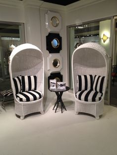 This pair of daybreak lounge #chairs in white finish and black/white fabric are great poolside or for a #garden party. Or a wedding! Just ask @Crystal Palecek ;) Be sure to stop by @PALECEK Furniture, Lighting, and Accessories located at IHFC D202 for more of their new designs. #HPMKT