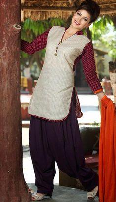 $63.7 Cream and Purple Printed Cotton Punjabi Salwar Kameez 25610