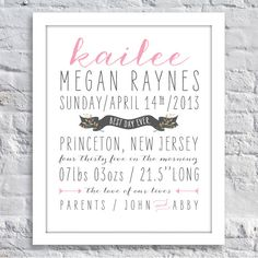 Sweet Typography Birth Announcement Print Boy by TenTwelveDesigns