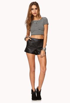 Classy Quilted Faux Leather Shorts   FOREVER21 Who's ready for the weekend?! #LaborDay #FauxLeather #Love21