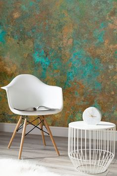 See the beauty of imperfections with this verdigris wallpaper design. Beautifully warming copper tones contrast against a deep turquoise, giving your home a truly unique feel. This is what I tried to create in Aspen! Living Room Interior, Living Room Decor, Living Rooms, Look Wallpaper, Wallpaper Designs For Walls, Copper Wallpaper, Wallpaper Murals, Unique Wallpaper, Wallpaper Ideas