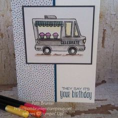 Stampin' Up! Tasty Trucks stamp set, watercolor pencils, Suite Sayings stamp set, Serene Scenery DSP