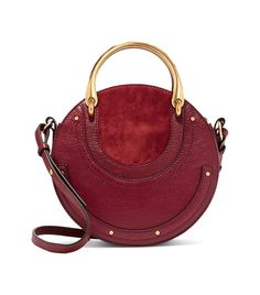 Pixie Textured-Leather and Suede Shoulder Bag Cloe