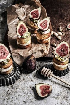 little honey mascapone cakes with figs and pistachios