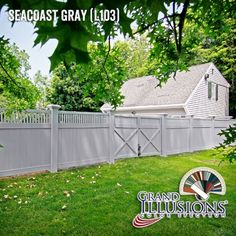 """@illusionsfence Seacoast Gray matte finish PVC vinyl privacy fence with framed Classic Victorian picket topper and matching gates. 8"""" x 8"""" Majestic posts too. #fenceideas #yardideas"""