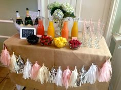 Mimosa Bar - Champagne in Bucket (use bucket from bridal shower), glasses with striped straws, cut fruit into bowls, and juice in clear things
