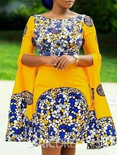 Silhouette: A-Line Dress Length: Knee-Length Sleeve Length: Long Sleeve Neckline: Off Shoulder Combination Type: Single Waist Line: Standard-Waist Closure: Pullover Elasticity: High Elasticity Pattern: Geometric,Color Block Embellishment: Print Style: Wes African Fashion Ankara, Latest African Fashion Dresses, African Print Fashion, Fashion Prints, African Style, Africa Fashion, Short African Dresses, African Print Dresses, Ankara Dress Styles