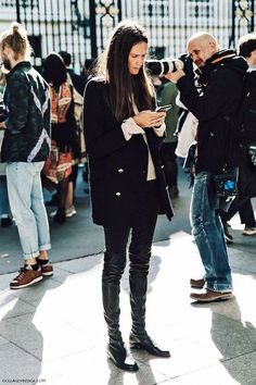 Black double breasted coat with OTK boots — Dress Warm, Look Good: How to Wear Our 5 Favorite Winter Coats - Wit & Delight