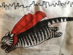 VTG Kliban Cat Flying Cats With Red Capes Full Fitted And Flat Sheet Set Cutter #BurlingtonCaress