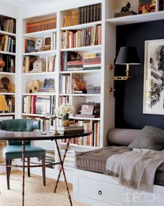 good use of bookcases - note how they turn the corner and the alcove effect with sconces.