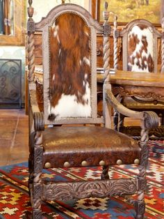 Cowhide and leather arm chair from Rawhide