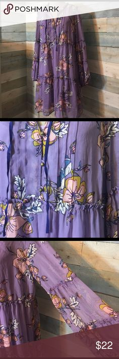 Purple Boho Floral Tunic Dress 2XL NWT Sheer Lined Secret Garden Xhilaration NWT dress with a sheer top and tank dress lining. Long sleeves with tiered detail on arms and body of dress. Mustard, blue, cream and pink on orchid purple background. Xhilaration Tops Tunics
