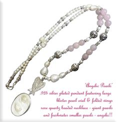 Exquisite angelic wings over a huge blister pearl pendant attached to rose quartz beads for love! Sold