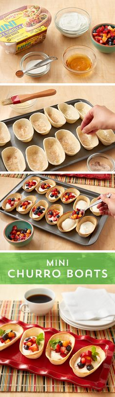 Ready for a simple sweet treat? These Mini Churro Boats are bound to be a hit as a simple snack or as a dish to share! Brush Old El Paso™ Mini Taco Boats with melted butter, and sprinkle with cinnamon and sugar, and bake for 6 to 9 minutes. Then, fill with your favorite greek yogurt and top with strawberries, blueberries and peaches! This twist on the classic Mexican pastry is pretty enough for parties, and simple enough for a weeknight treat!