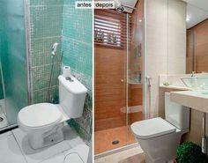 Banheiro antes e depois.
