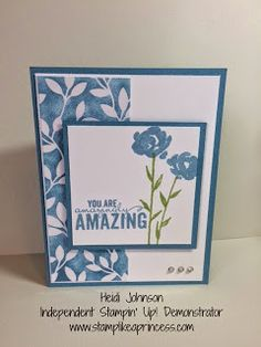 Stampin' Up Painted Petals, Occasions Catalog. Irresistibly Yours DSP, Marina Mist. www.stamplikeaprincess.com