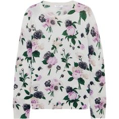Equipment Sloane floral-print cashmere sweater ($300) ❤ liked on Polyvore featuring tops, sweaters, white, white crew neck sweater, patterned sweater, crew-neck sweaters, pullover sweater and j.crew cashmere sweaters