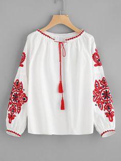 Tassel Tie Lantern Sleeve Embroidery Blouse