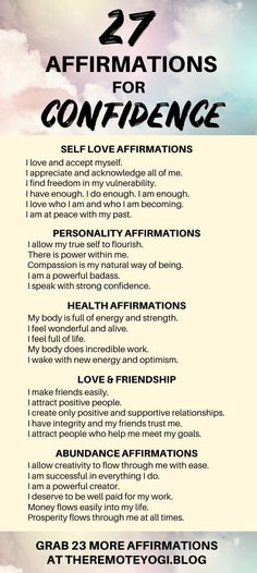 50+ Affirmations to Boost Your Confidence | Affirmations, Affirmations confidence, Self love affirma