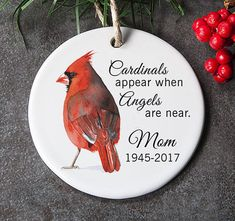 Sympathy Ornament for Lost Loved One, In Loving Memory Ornament, Memorial Gift for Christmas, Red Cardinal Ornament - memorial keepsakes for love ones in heaven - Ornaments Handmade Christmas, Christmas Crafts, Christmas Decorations, Christmas Ornaments, Xmas, Ornaments Ideas, Christmas Countdown, Christmas Tree, Christmas In Heaven