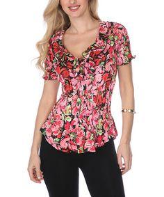 Pink & Green Floral Ruffle Button-Up Top #zulily #zulilyfinds