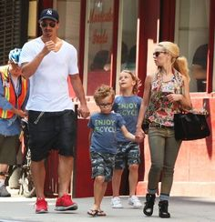 Zlatan Ibrahimovic and Helena Seger with their sons having a walk across New York City on June 25, 2014...
