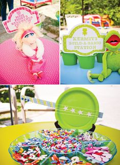 muppet-themed-birthday-party-miss-piggy-activity, gonzo the great inflatable obstacle course and Muppets pez dispensers!
