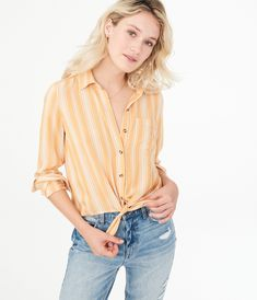 Our Long Sleeve Striped Tie-Front Button-Down Shirt adds a stylish twist to your favorite silhouette. Button Downs, Button Down Shirt, Aeropostale, Tie, Stylish, Long Sleeve, Google Search, Jeans, Women