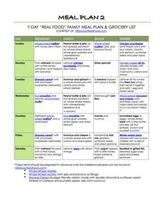 100 Days of Real Food: Meal Plan 2