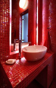 red Bathroom Decor modern bathroom - photo/picture definition - modern bathroom word and phrase image Bathroom Red, Bathroom Photos, Modern Bathroom Decor, Bathroom Interior Design, Red Bathrooms, Bathroom Ideas, Barn Bathroom, Bathroom Blinds, Country Bathrooms