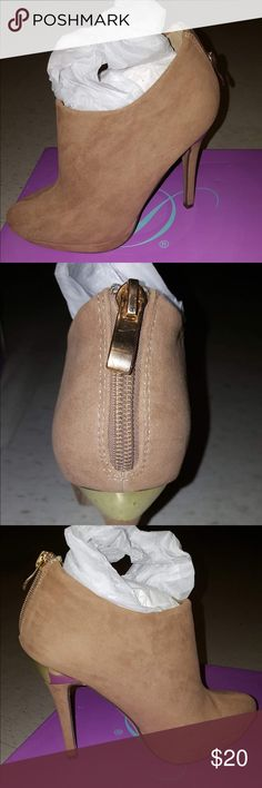 Tan suede booties New, never worn, in box sizes 7, 9 & 10. Shoes Ankle Boots & Booties