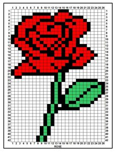 Rose perler bead or crochet pixel blanket inspiration -Trista Bead Loom Patterns, Perler Patterns, Beading Patterns, Cross Stitch Patterns, Cowl Patterns, Pearler Bead Patterns, Square Patterns, Bracelet Patterns, Embroidery Patterns