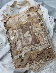 Shabby Chic Inspired: fabric paper collage on book cover
