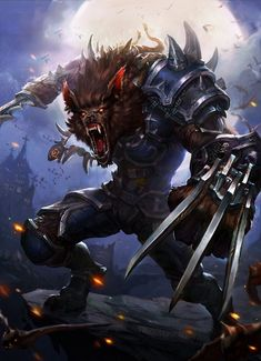 Concept Art, by Moky lin. Creating art and seeing it on a big screen is something you should relate to. Artwork Lobo, Wolf Artwork, Monster Concept Art, Fantasy Monster, Fantasy Races, Fantasy Warrior, Dark Fantasy Art, Arte Dark Souls, Werewolf Art