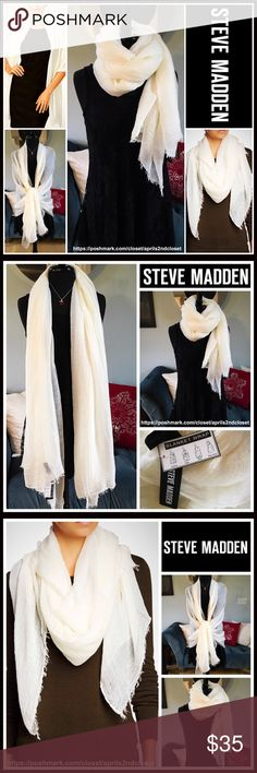 "STEVE MADDEN BLANKET WRAP Long Scarf Cape Shawl 💟NEW WITH TAGS💟 RETAIL PRICE: $48 BRAND- STEVE MADDEN  LONG BLANKET Wrap Scarf Cape Shawl    * Beautiful subtly textured & super soft fabric   * Oversized, blanket cape silhouette  * Lightweight for layering  * Fringe trim   * Approx 77"" X 42"" FABRIC- acrylic, rayon, polyester, 7% wool COLOR- ivory Item# SEARCH WORDS # Chiffon -like  CHUNKY KNIT SCARF Long infinity Cowl Neck  🚫No Trades🚫 ✅ Offers Considered*✅ *Please use the blue 'offer'…"